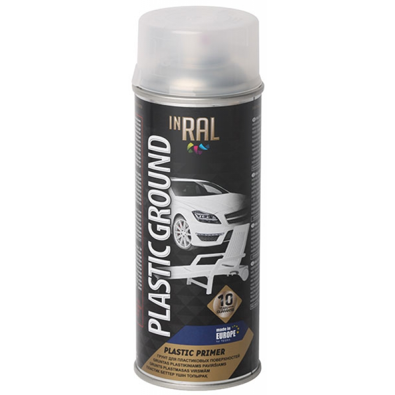 Aerosol primer for plastic surfaces, PLASTIC GROUND, transparent, 400ml INRAL