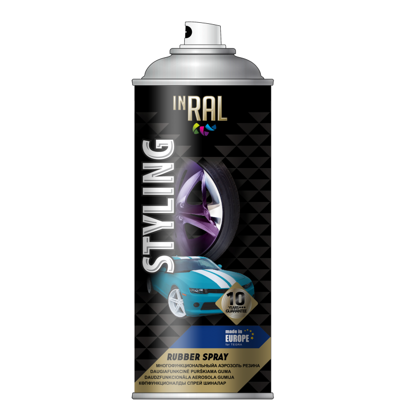 Multifunction aerosol rubber – like paint , STYLING,  silver , INRAL